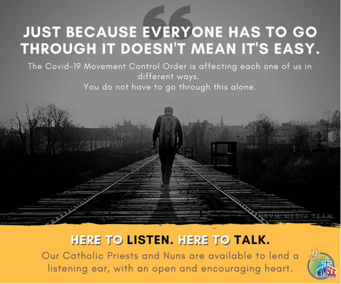 You are currently viewing News article: Priests and nuns offering counselling via phone during MCO