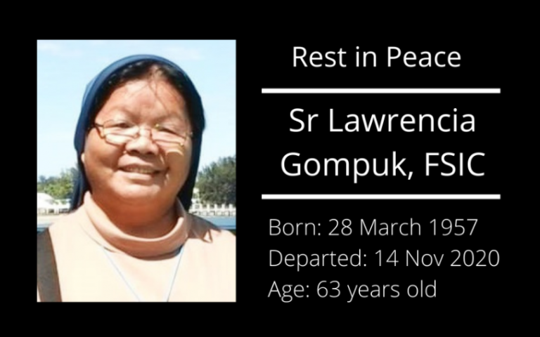 Read more about the article Rest in peace, Sr M. Lawrencia Gompuk, FSIC